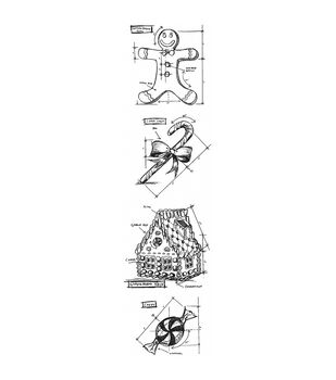 Stampers Anonymous Mini Christmas #3 Blueprints Strip Cling Stamps