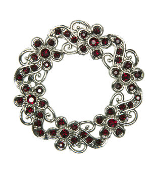 Laliberi Rhinestone Pin - Ruby Wreath in Silver