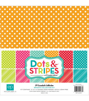 Echo Park Paper Company Dots & Stripes Brights Scrapbooking Kit