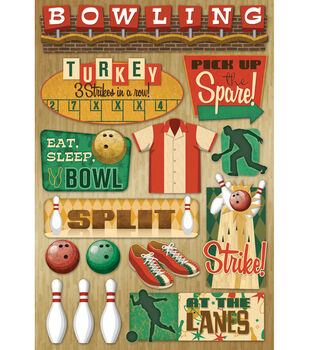 """Karen Foster Bowling Cardstock Stickers 5.5""""X9""""-At The Lanes"""