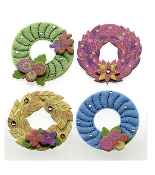 Colorful Stitched Wreaths