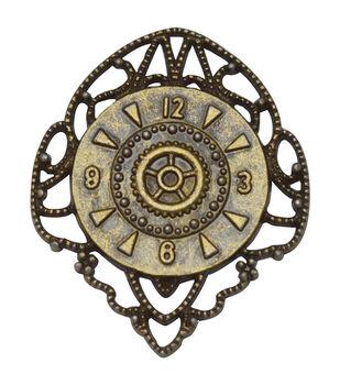 Brass embellishments 10/Pkg-Filigree Clock