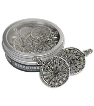 Fabscraps Beach Charms Embellishment Compass Silver