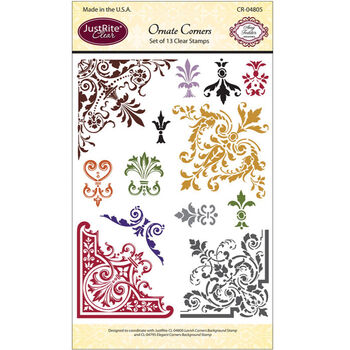 JustRite Papercraft Clear Stamp Set Ornate Corners