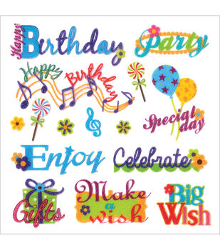 Forever In Time Glitter Birthday Wish Themes Stickers Sheet