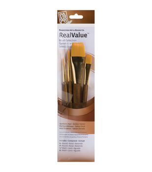 Real Value Brush Set Synthetic Gold Taklon-Round 4,8, Wash 1/2,1