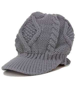 Laliberi Winter Knit Billed Cap In Light Grey