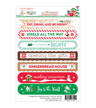 Webster's Pages Gingerbread Village Sentiments Stickers