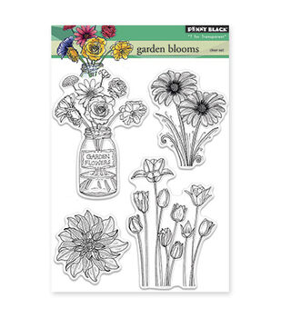 """Penny Black Clear Stamps 5""""X6.5"""" Sheet -Garden Blooms"""