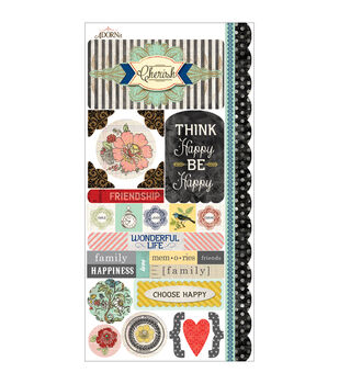 Adorn-It Chamberry Cardstock Stickers Choose Happy