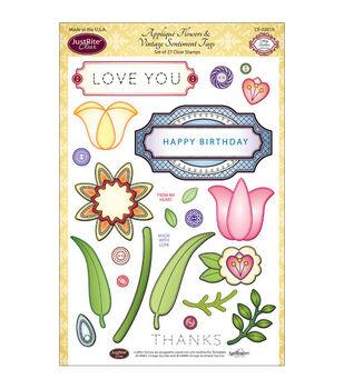JustRite Papercraft Applique Flowers & Vintage Tag Sentiment Stamp Set