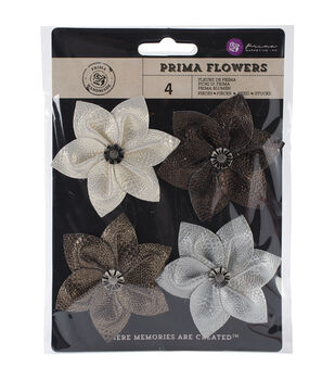 """Briella Fabric Flowers W/Button 2"""" To 2.5"""" 4/Pkg-Blooming"""