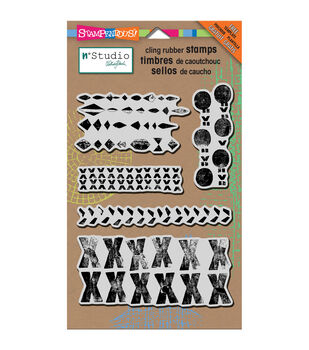 """Stampendous N*studio Cling Stamp & Stencil 5""""X7"""" Sheet -Marks"""