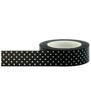 Little B Decorative paper Tape 15mmx15m-Black W/White Dots
