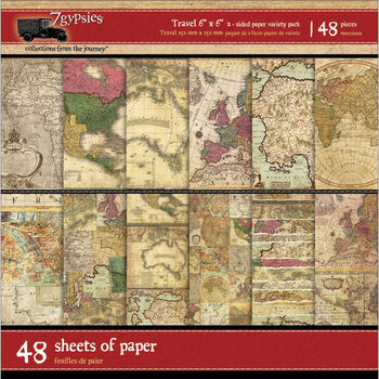 """Gypsy Travels Double-Sided Paper Pack 6""""X6"""" 48/Sheets-"""