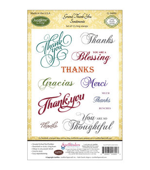 JustRite Papercraft Cling Stamp Set Grand Thank You Sentiments