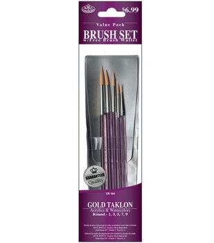 Brush Set Value Pack Gold Taklon 5/Pkg
