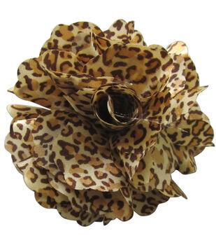 Mark Richards Fluerettes Animal Print Flower 1/Pkg-Cheetah-Dark Brown, Light Brown