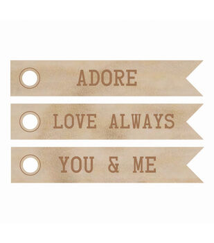Wood Flourishes-Adore Word Flags 3/Pkg