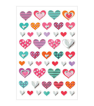 Forever In Time Foil Fun Glam Hearts Stickers Sheet