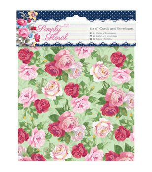 Papermania Simply Floral Cards With Envelopes 6''x6''