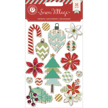 Pink Paislee Snow Village Layered Chip Stickers