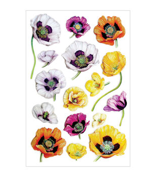 Forever In Time Glitter Pansies Foil Stickers Sheet