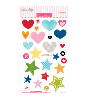 Bella BLVD Color Chaos Hearts & Stars Chipboard Stickers