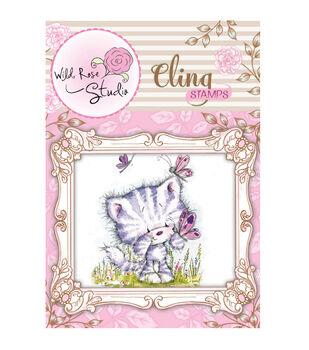 Wild Rose Studio Cling Stamp Elsie and Butterflies