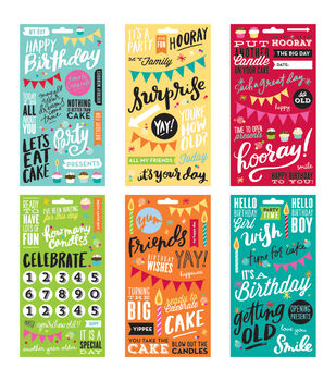 Me & My Big Ideas Pocket Pages Clear Stickers 6 Sheets/Pkg-Birthday
