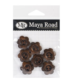 Wooden Shapes 7/Pkg-Stained Flower Buttons 1""