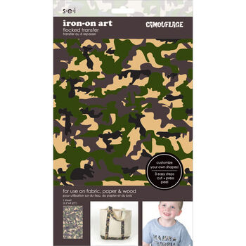 Sei Iron-on Sheet Green/Brown Camo
