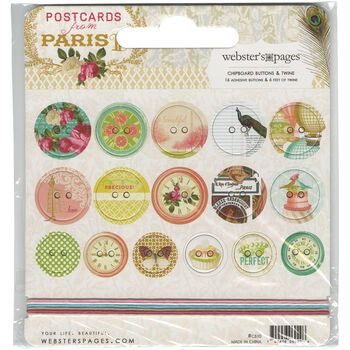 Webster's Pages Postcards From Paris II Self-Adhesive Chipboard Buttons