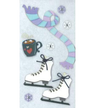 Sandylion Essentials Dimensional Stickers-Ice Skating