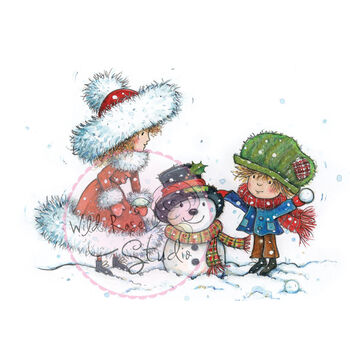 Wild Rose Studio Clear Stamp Building A Snowman