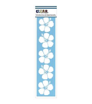 "Clear Scraps Border Stencils 3""X12""-Hibiscus"