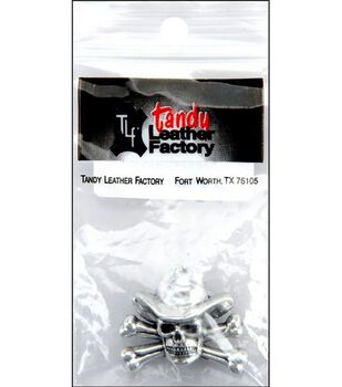 Leather Factory 1''Concho Screwback-Cowboy Skull&Crossbone Silver