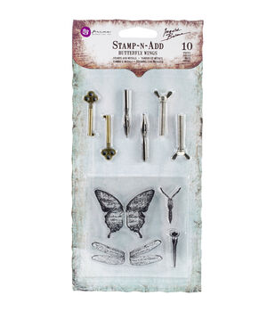 Prima Marketing Butterfly Wings Stamp-N-Add Stamp & Embellishment Set