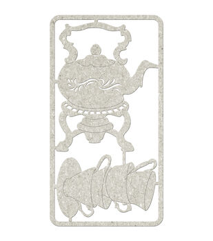 Die-Cut Gray Chipboard embellishments-Teapot & Stacked Tea Cups