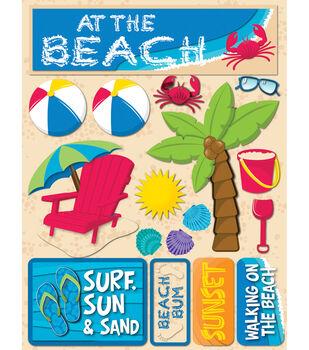 "Signature Dimensional Stickers 4.5""X6"" Sheet-Beach"