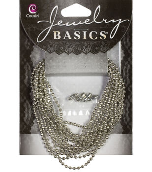 Jewelry Basics 80in/203.2cm Small Silver Ball Chain by Cousin