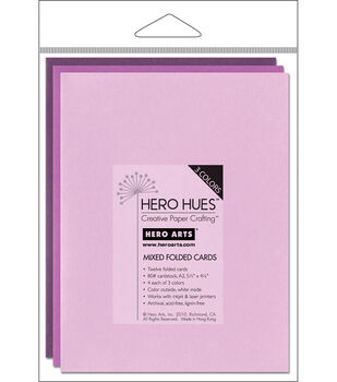 Hero Arts 5-1/2''x4-1/4'' Folded Cards-12PK/Floral Mix