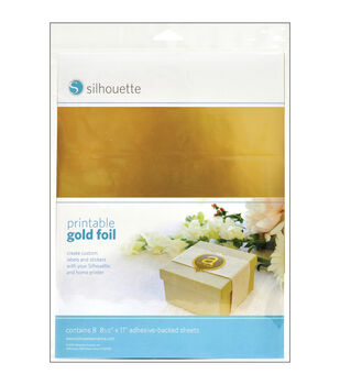 "Silhouette Printable Adhesive Foil 8.5""X11"" 8/Pkg-Gold"