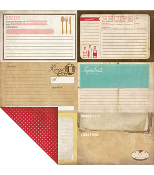 Carta Bella Homemade With Love Double-Sided Cardstock Paper Recipe Cards