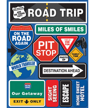 "Signature Dimensional Stickers 4.5""X6"" Sheet-Road Trip"