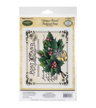 """JustRite Papercraft Cling Background Stamp 4.5""""X5.75""""-Christmas Postcard"""