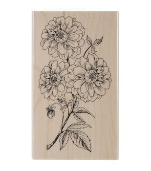 """Penny Black Mounted Rubber Stamp 2.75""""X4.5""""-Dahlia Dance"""