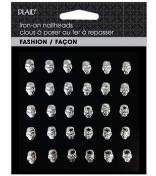 Plaid® Fashion Hot Fix Nailhead Assortment Pack-Shiny Silver Skulls