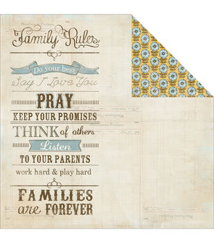 Adorn-It Wisteria Family Rules Double-Sided Cardstock