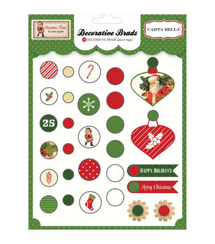 Carta Bella Christmas Time Decorative Brads